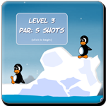 Shoot the opponent penguin using snow and bombs along with rocket to finish the level