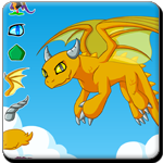 Instructions: Click on the category buttons to play the game and dress up the dragon