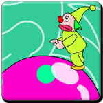 use the arrow key to balance the clown not to fall on ground and pick the correct balloon which gives the correct answer, to win the trophy.